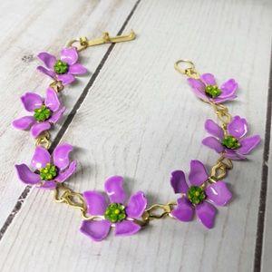 Vintage Enamel Purple Flower Line Bracelet Boho